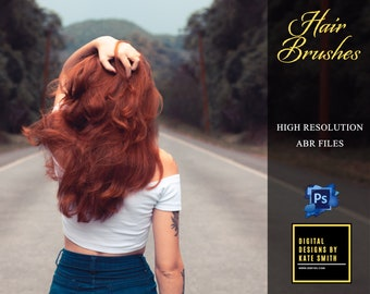 10 x Real Hair Brushes, ABR Files, Photoshop Brushes, High Resolution, Instant Download.