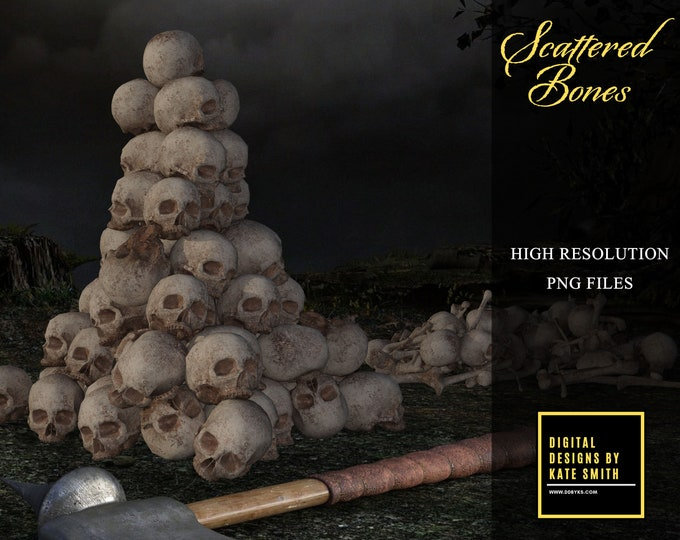 Scattered Bones Overlays, Separate PNG Files, High Resolution, Instant Download, CUOK.