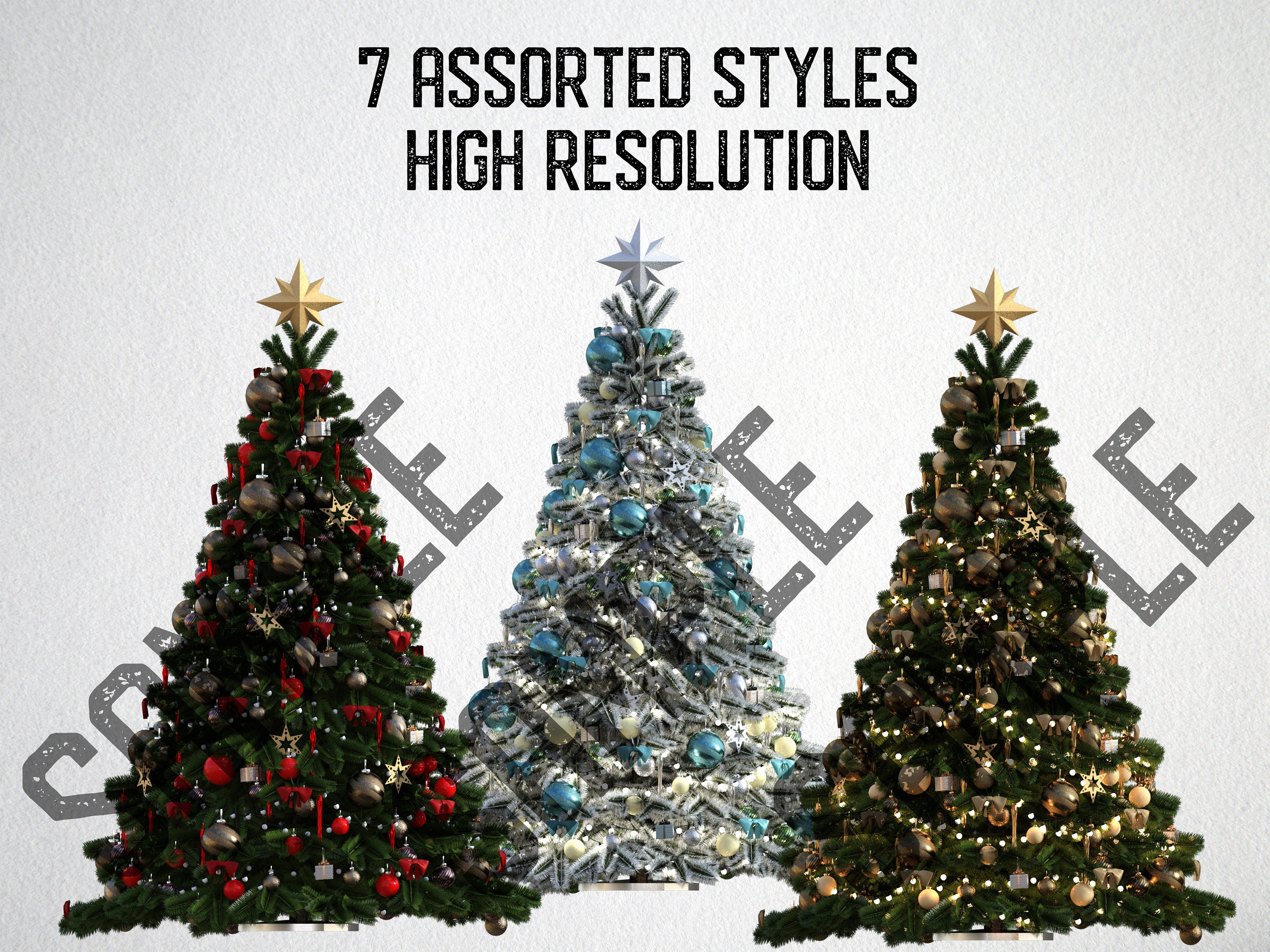 14 christmas tree overlays plus bonus presents, separate png files