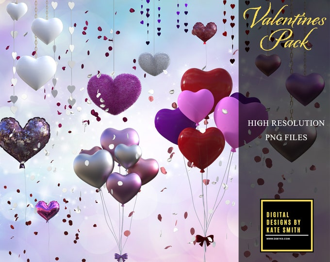 Valentines Pack, Separate PNG Files, High Resolution, Instant Download, CUOK, Buy 3 get 1 free!