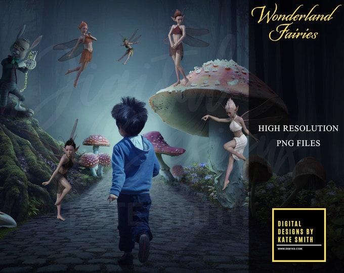 Wonderland Fairies Overlays, Separate PNG Files, High Resolution, Instant Download, Buy 3 get 1 free, CUOK.