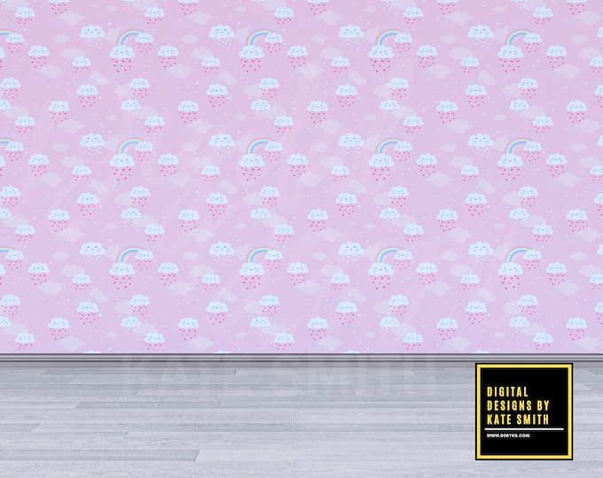 Rainbow Clouds Empty Room Digital Backdrop / Background, Commercial Use for Pre made Backgrounds, High Resolution.