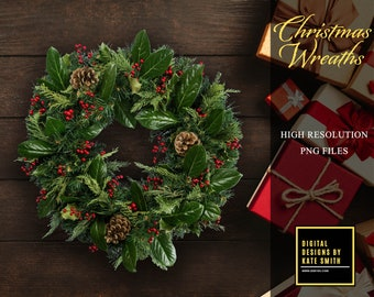10 x Christmas Wreath Overlays, Separate PNG Files, High Resolution, Instant Download.