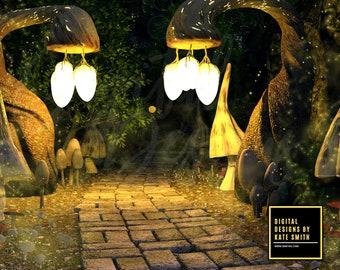 Mushroom Valley Digital Backdrop / Background, High Resolution, Instant Download, Buy 3 get 1 free, CUOK.