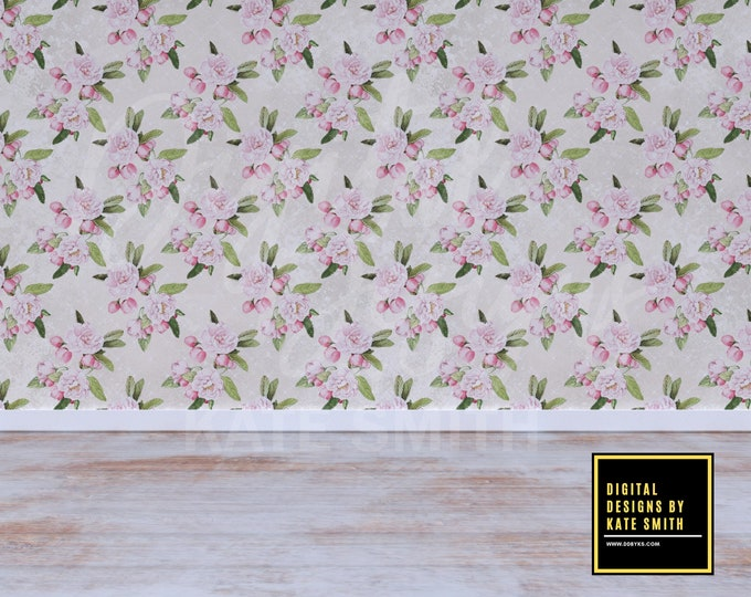 Vintage Floral Room 2 Backdrop / Background, Commercial Use for Pre made Backgrounds, High Resolution, Buy 3 get 1 free.