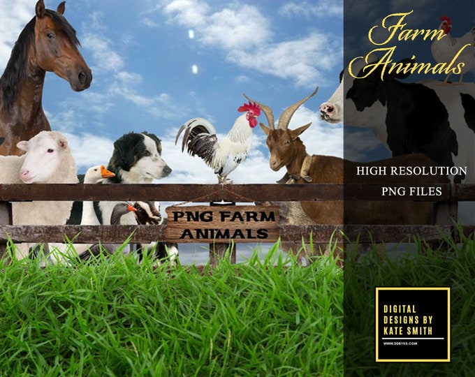 Large Pack of Farm Animal Overlays, Large Files, Separate PNG Files, High Resolution, Instant Download.