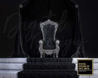 Gothic Throne Digital Backdrop / Background, High Resolution, Instant Download, Buy 3 get 1 free, CUOK.