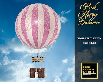 Pink Hot Air Balloon Prop Overlay, Extra Large File, High Resolution, Great For Newborns and Kids, Instant Download.