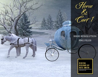 Horse & Cart 1 Overlay, Separate PNG Files, High Resolution, Instant Download, CUOK, Buy 3 get 1 free.