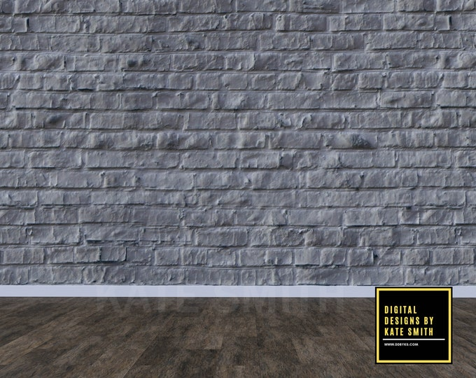 Grey Brick Empty Room Digital Backdrop / Background, Commercial Use for Pre made Backgrounds, High Resolution.