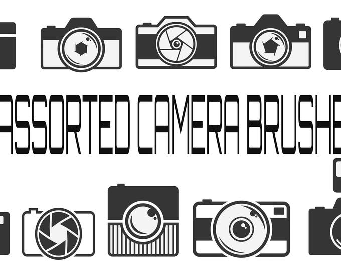 Buy 3 get one free. 10 X Camera Brushes for Photoshop. 300ppi Instant Download, Camera Logo Brushes.