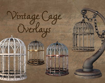Vintage Cages Overlay Pack, Separate PNG Files, High Resolution, Instant Download, Buy 3 get 1 free, CUOK.