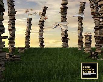 Land of Knowledge Digital Backdrop / Background, High Resolution, Instant Download, Buy 3 get 1 free.