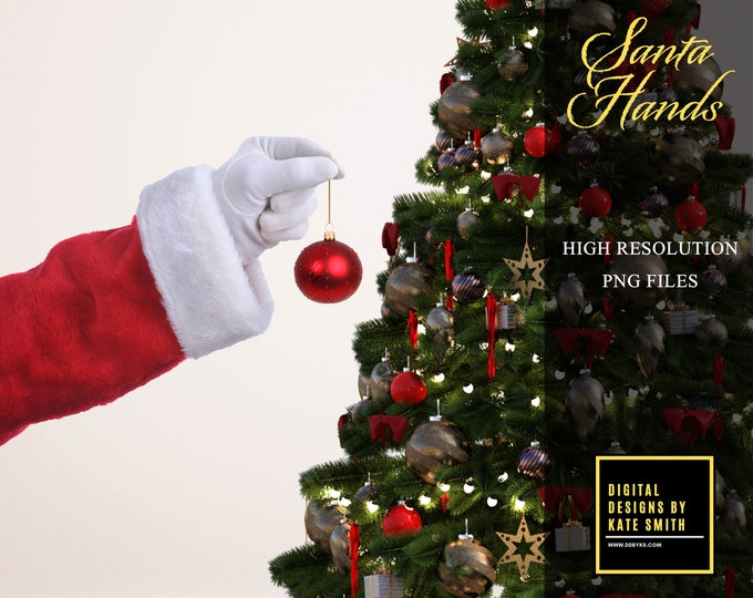 Santa Hand Overlays, Separate PNG Files, High Resolution, Instant Download, CUOK.