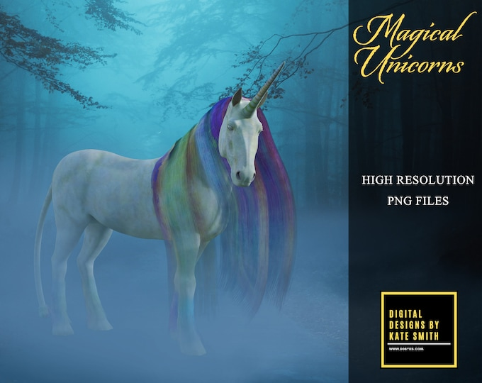 20 Magical Unicorn Overlays, Separate PNG Files, High Resolution, Instant Download, Buy 3 get 1 free, CUOK.