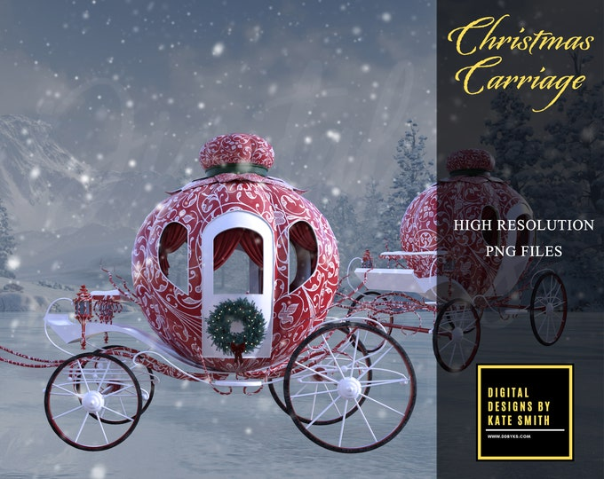Red Christmas Carriage Overlays, Separate PNG Files, High Resolution, Instant Download, CUOK, Buy 3 get 1 free.