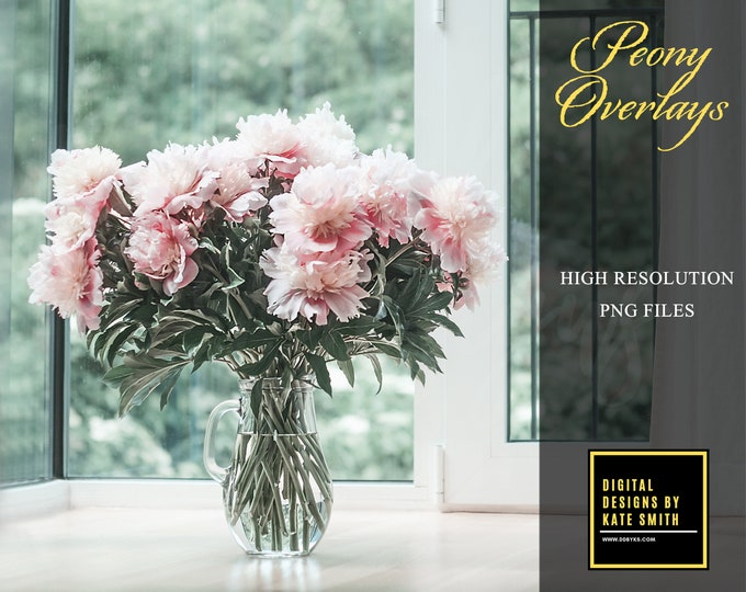 Peony Overlays Separate PNG Files, High Resolution, Instant Download, CUOK.