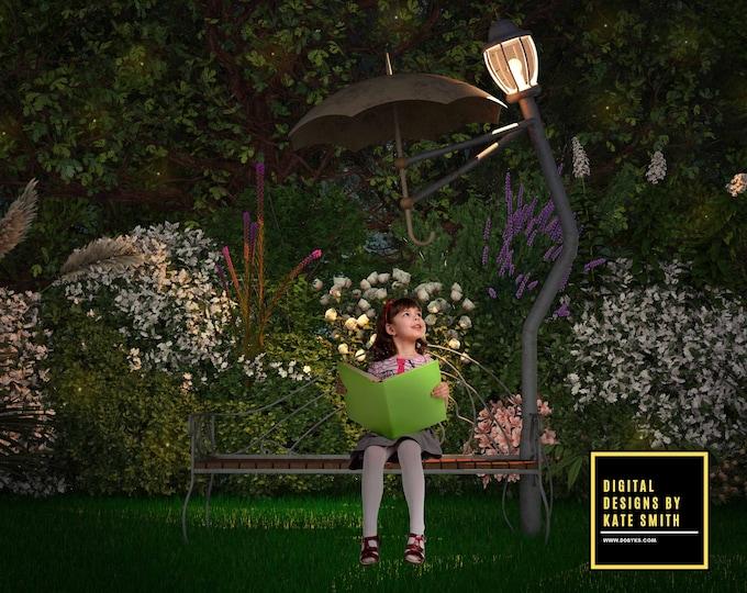 Enchanted Garden Digital Backdrop / Background, 2 Versions, High Resolution, Instant Download, Buy 3 get 1 free, CUOK.
