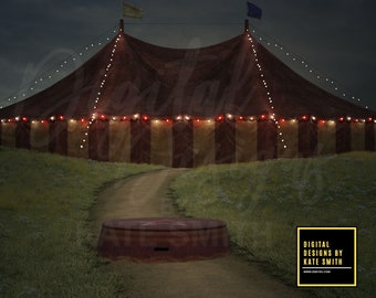 Circus on the Hill Digital Backdrop / Background, High Resolution, Instant Download, Buy 3 get 1 free, CUOK.