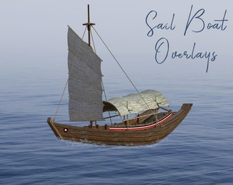 Wooden Sail Boat Overlays, Separate PNG Files, High Resolution, Instant Download.