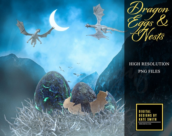 Dragon Eggs & Nests Overlays, Separate PNG Files, High Resolution, Instant Download, Buy 3 get 1 free, CUOK.