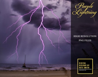 Purple Lightning Overlays, Separate PNG Files, High Resolution, Instant Download, CUOK.