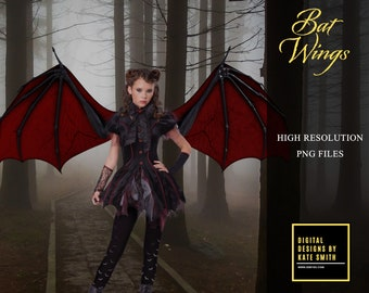 20 Bat Wing Overlays, Separate PNG Files, High Resolution, Instant Download, Buy 3 get 1 free, CUOK.