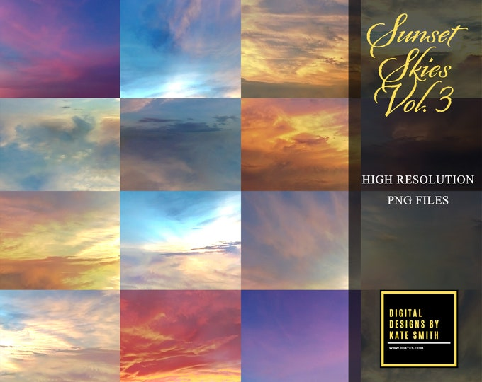 Sunset Skies Volume 3, Large Files, High Resolution, Instant Download, CUOK.