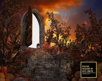 Pumpkin Forest PNG Background / Backdrop, Transparent Doorway, High Resolution, Instant Download, Buy 3 get 1 free, CUOK.