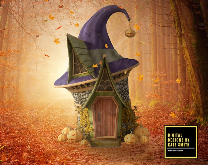 The Autumn Witch House Digital Backdrop / Background, High Resolution, Instant Download, Buy 3 get 1 free.