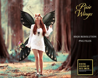 Pixie Wing Overlays, Separate PNG Files, High Resolution, Instant Download, Buy 3 get 1 free, CUOK.