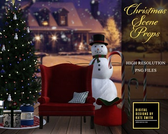 Christmas Scene Prop Overlays, Separate PNG Files, High Resolution, Instant Download, CUOK.
