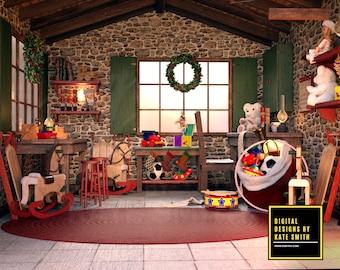 Santa's Workshop Digital Backdrop / Background, High Resolution, Instant Download, Buy 3 get 1 free, CUOK.