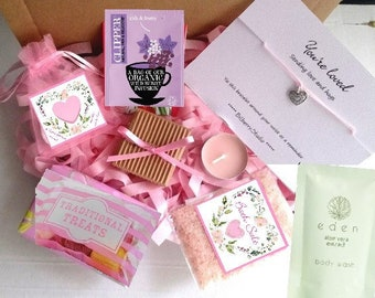 HUG in a Box, You are Amazing, Cheer Up, Pick Me Up, Wish Bracelet, Pamper Hamper, Gift for Friend, Thinking of You, Pink Gift Set