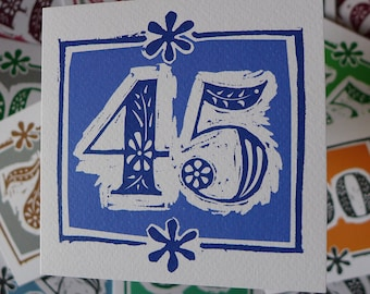 45th Birthday Card Or Sapphire Wedding Anniversary