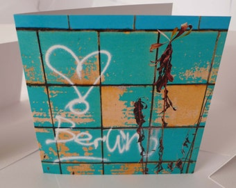 I love Berlin - an urbex blank greetings card for all occasions - Urban fragments - Green Card Design - Urban exploration