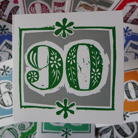 90th Birthday Card Linocut Design 90 Years Old Happy