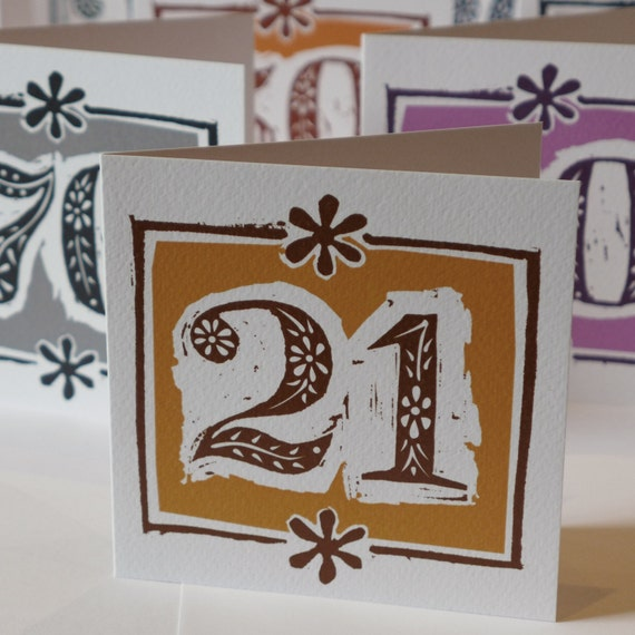 Brass Gifts For Wedding Anniversary: 21st Birthday Or Brass Wedding Anniversary Card Linocut