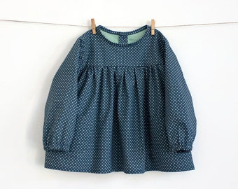 Baby Blouse PDF Sewing Pattern – Instant download – Long or Short Sleeve — With shoulder frill option