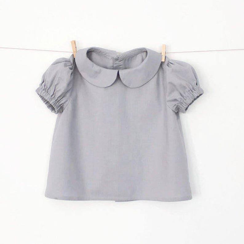 c2beeefc3 Girls Peter Pan Collar Blouse with Puff Sleeves Pattern PDF | Etsy