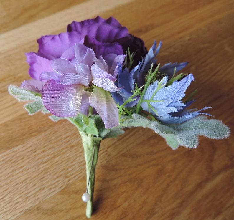Purple Buttonhole Wedding Buttonhole Purple Wedding Flowers Artificial flowers Grooms Buttonhole Lisianthus Buttonhole Ladies Corsage