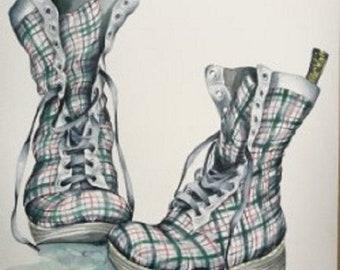 e16d4e997de3a Dr Martens Boots, in Tartan. Original Watercolour Painting