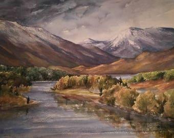 Scottish Highlands Mountain Scene, Glen Affric, Watercolour painting/prints,