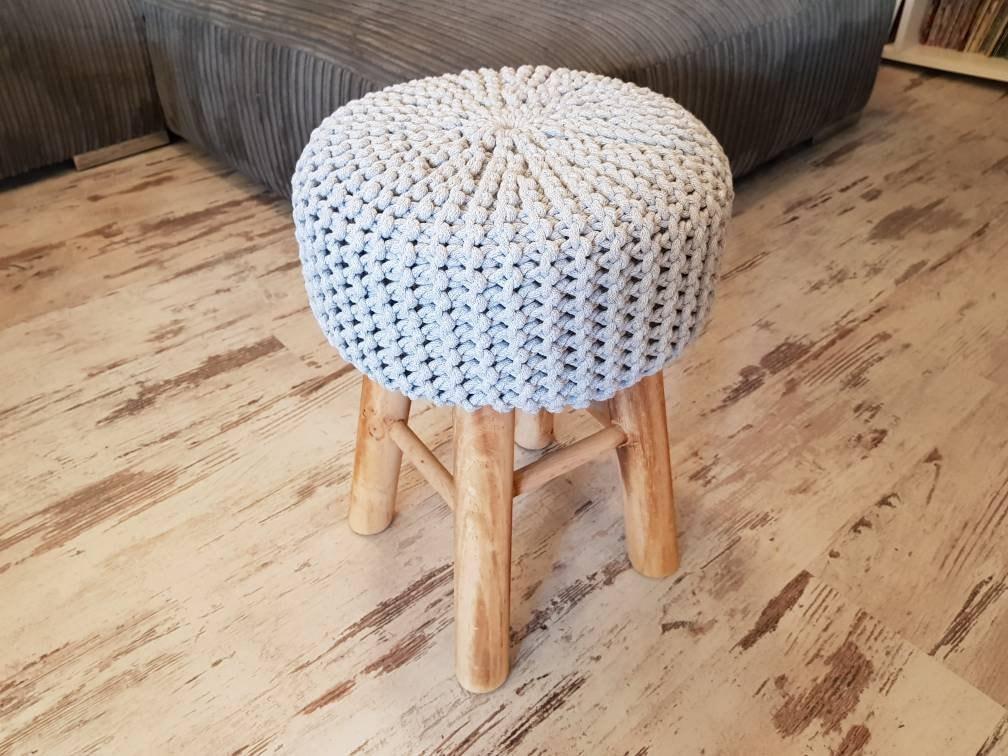 Knitted Stool Pouf Colours Light Grey Seat Crochet Pouf Etsy