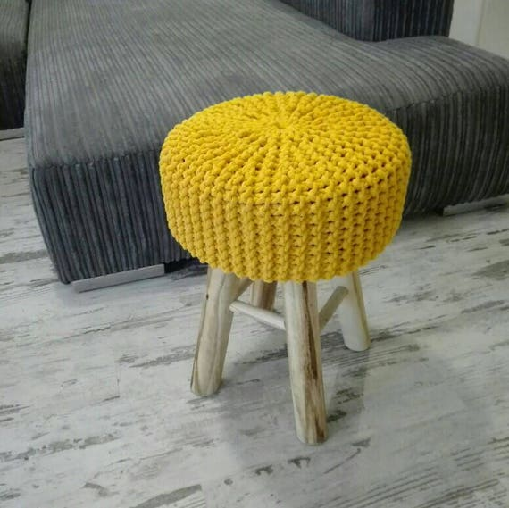 Knitted Stool Pouf Colours Dark Yellow Seat Crochet Etsy