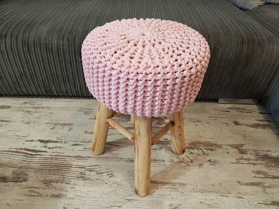 Sgabello pouf colori in maglia rosa sedile ottomano etsy