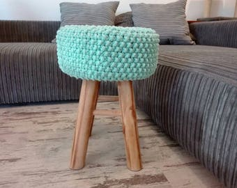 Knitted Stool, Pouf - colours, mint, Seat, Crochet Pouf, ottoman, footstool