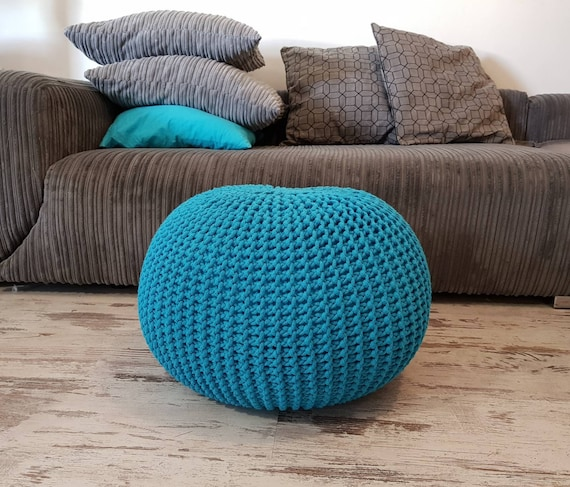 Knitted Pouf Colours Turquoise Seat Crochet Pouf Etsy Best Turquoise Knitted Pouf