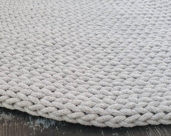 Crochet round rug Colours  Knitted carpet Scandinavian style Crochet carpet Crochet rug Round carpet Cotton rug Nursery rug Cotton rope