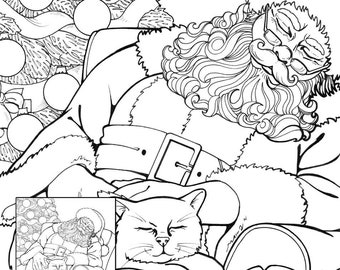 sleepy santa and cat pdf instant download coloring pages adult coloring pages coloring books for adults christmas